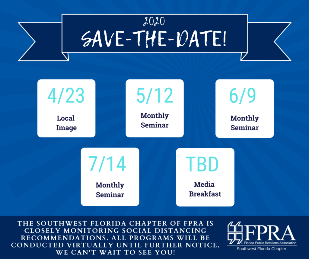 Event dates for 2020 for the Southwest Florida chapter of FPRA